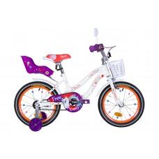 """Велосипед 16"""" Formula FLOWER PREMIUM 2020 (бело-оранжевый c фиолетов)"""