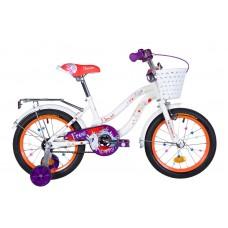"""Велосипед 16"""" Formula FLOWER 2020 (бело-оранжевый c фиолетов)"""