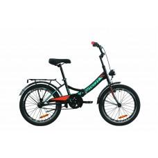 """Велосипед 20"""" Formula SMART с фонарём 2020 (черно-оранжевый с бирюзовым (м))"""