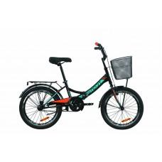 """Велосипед 20"""" Formula SMART с корзиной 2020 (черно-оранжевый с бирюзовым (м))"""