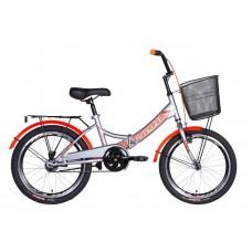 """Велосипед 20"""" Formula SMART с корзиной 2021 (серый с оранжевым (м))"""