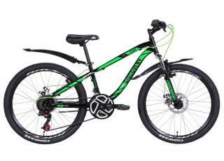 """Велосипед 24"""" Discovery FLINT AM DD 2021 (серебристо-черный с желтым)"""