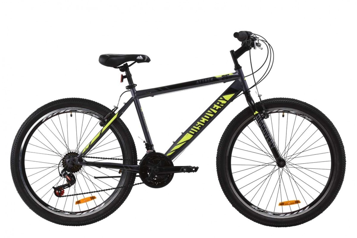 """Велосипед 26"""" Discovery ATTACK 2020 (красно-черный с салатовым)"""