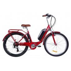 """Электровелосипед 26"""" LUX AM, 350Вт 36В, 10.4Ач, макс.пробег 40км, 40 км/ч (рубиновый)"""