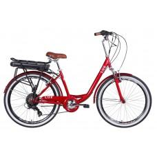"""Электровелосипед 26"""" LUX AM 350Вт 36В редуктор. дисплей, САП, 12.5Ач с крепл. к багажн., 2020 (рубиновый)"""