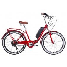 """Электровелосипед 26"""" LUX AM 350Вт 36В редуктор. дисплей, САП, 8.8Ач с крепл. на раму, 2020 (рубиновый)"""