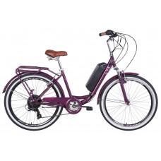 """Электровелосипед 26"""" LUX AM 350Вт 36В редуктор. дисплей, САП, 8.8Ач с крепл. на раму, 2020 (сливовый (м))"""