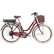"""Электровелосипед 28"""" CORAL 350Вт 36В редуктор. 12.5Ач с крепл. к багажн., дисплей, САП 2020 (рубиновый)"""