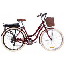 """Электровелосипед 28"""" CORAL трещ., 350Вт 36В редуктор. задн.привод, 12.5Ач с крепл. к багажн., приложение, макс.пробег 45км, 40 км/ч (рубиновый)"""