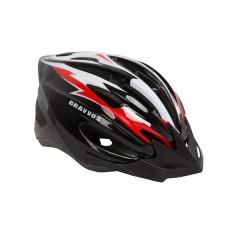 Шлем велосипедный HE 127 черно-бело-красный